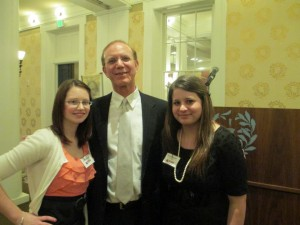 Bennett (right) poses with Sara Kuhn, FSU alumna class of 2012, and FSU President Dr. Jonathan Gibralter at the 2013 SLOOP Institute for Leadership and Success.