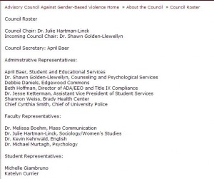The council's webpage still listed the faculty members on the council as of 5/19.