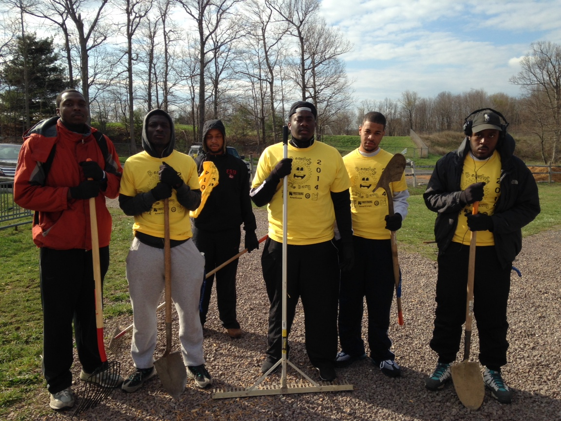 Fraternity, Phi Beta Sigma​, helps clean and helps keep Frostburg a beautiful city. (Steven Uzoukwu)