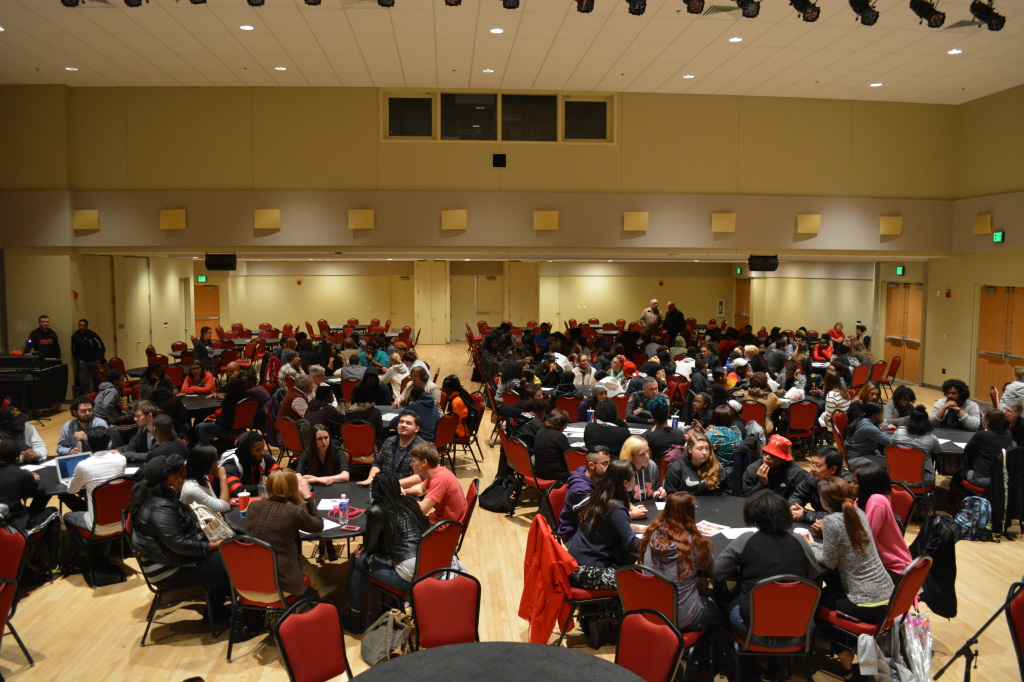 "The Alice Manicur Assembly Hall was nearly packed on Thursday night as students, faculty, and staff participated in ""Frostburg Cares."" (TBL/Nick DeMichele)"