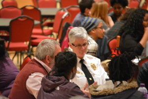 Police Chief Cynthia Smith participates in the round table discussions on Thursday night. (TBL/Nick DeMichele)