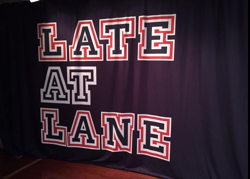 The Late at Lane banner taken by @FrostburgUPC on Twitter.