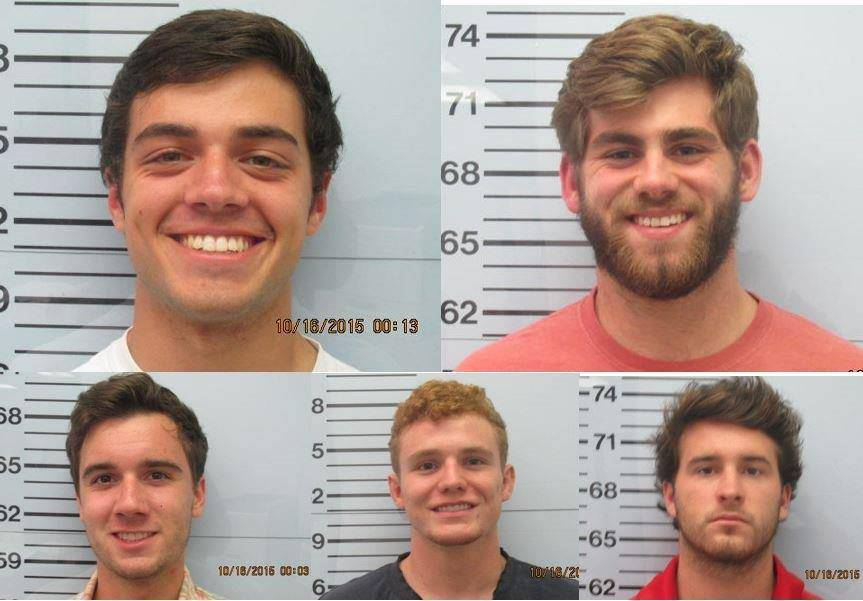Pi Kappa Alpha members arrested and charged in connection with the brutal beating of a Sigma Pi member. Top left: Christian Guy; Top right: Austin Rice; Bottom left: James Declan Basile; Bottom middle: Kyle Hughes; Bottom right: Tucker Cole Steil (Source: WMC/Oxford Police Department)