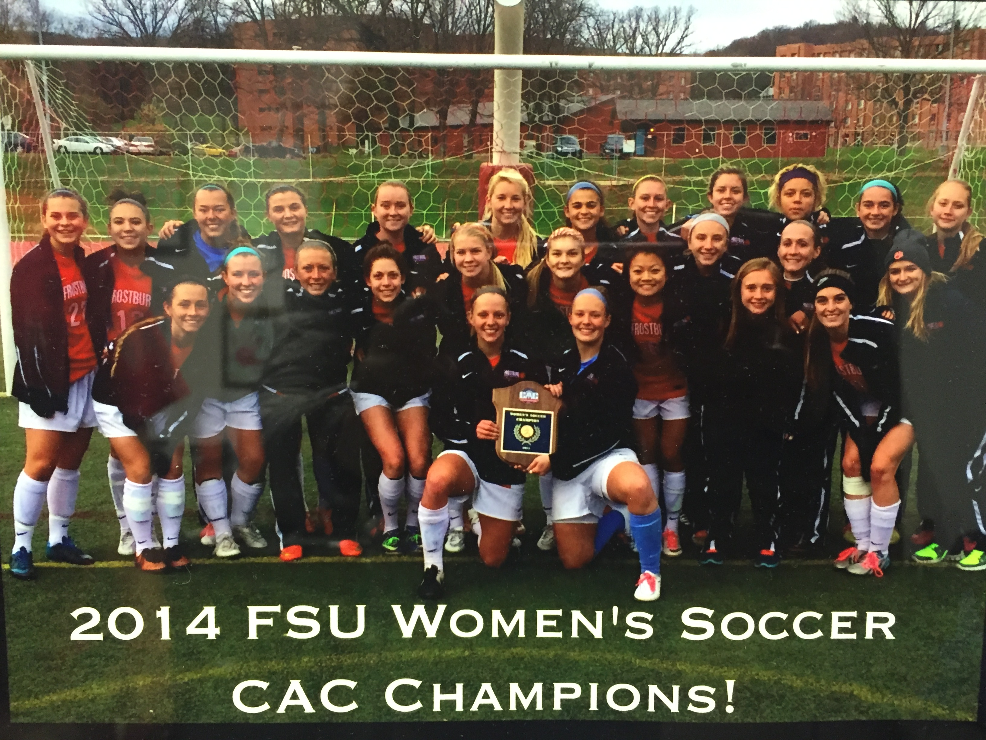 2014 FSU Women's Soccer CAC Champions.  Team's inspiration and goal for this season is to get back, picture is a symbol of motivation.