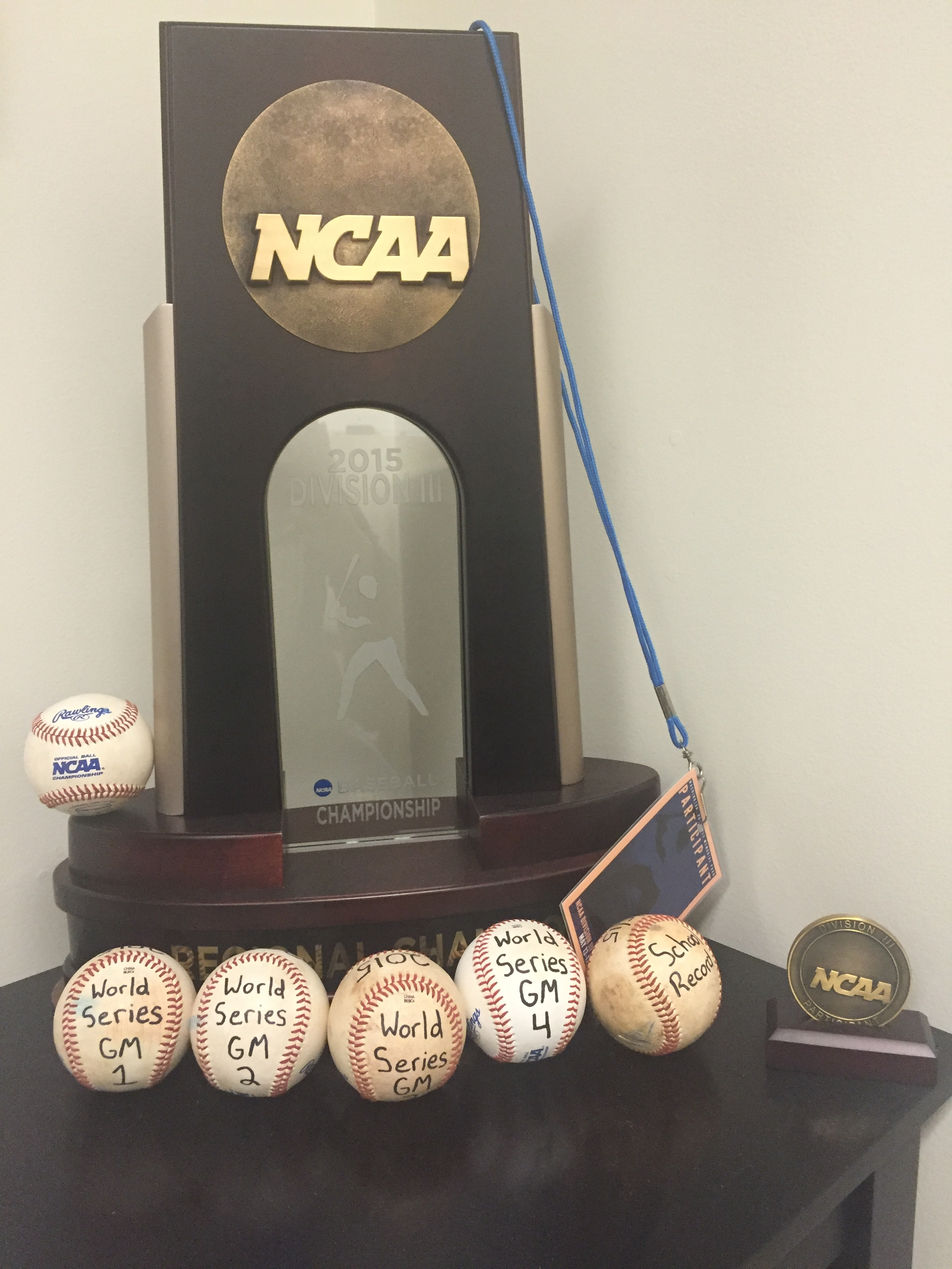 Baseball 2015 D3 NCAA Championship Trophy. Taken by Mia Williams.