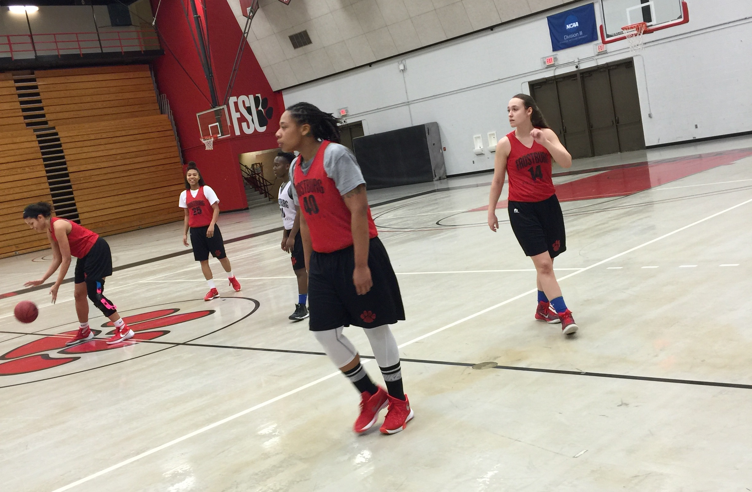 Photo taken by Marvin Autry. Women's basketball practicing 2/4/2016