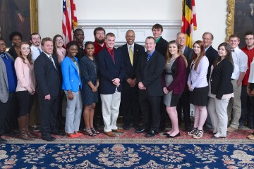 Students pose with Lt. Gov Rutherford (Joe Andrucyk,  Chief Photographer,  Office of the Governor )