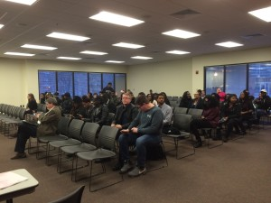 The gallery at SGA's meeting is usually bare, with only a small handful in attendance, but over 30 students came out to lobby for BSA's interests. (Brad Kroner/TBL)