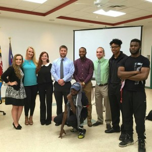 Students lobbying the Mayor and Council for more oversight over rental inspections pose at the Frostburg Community Center. (Photo Credit: Eric Gontrum)