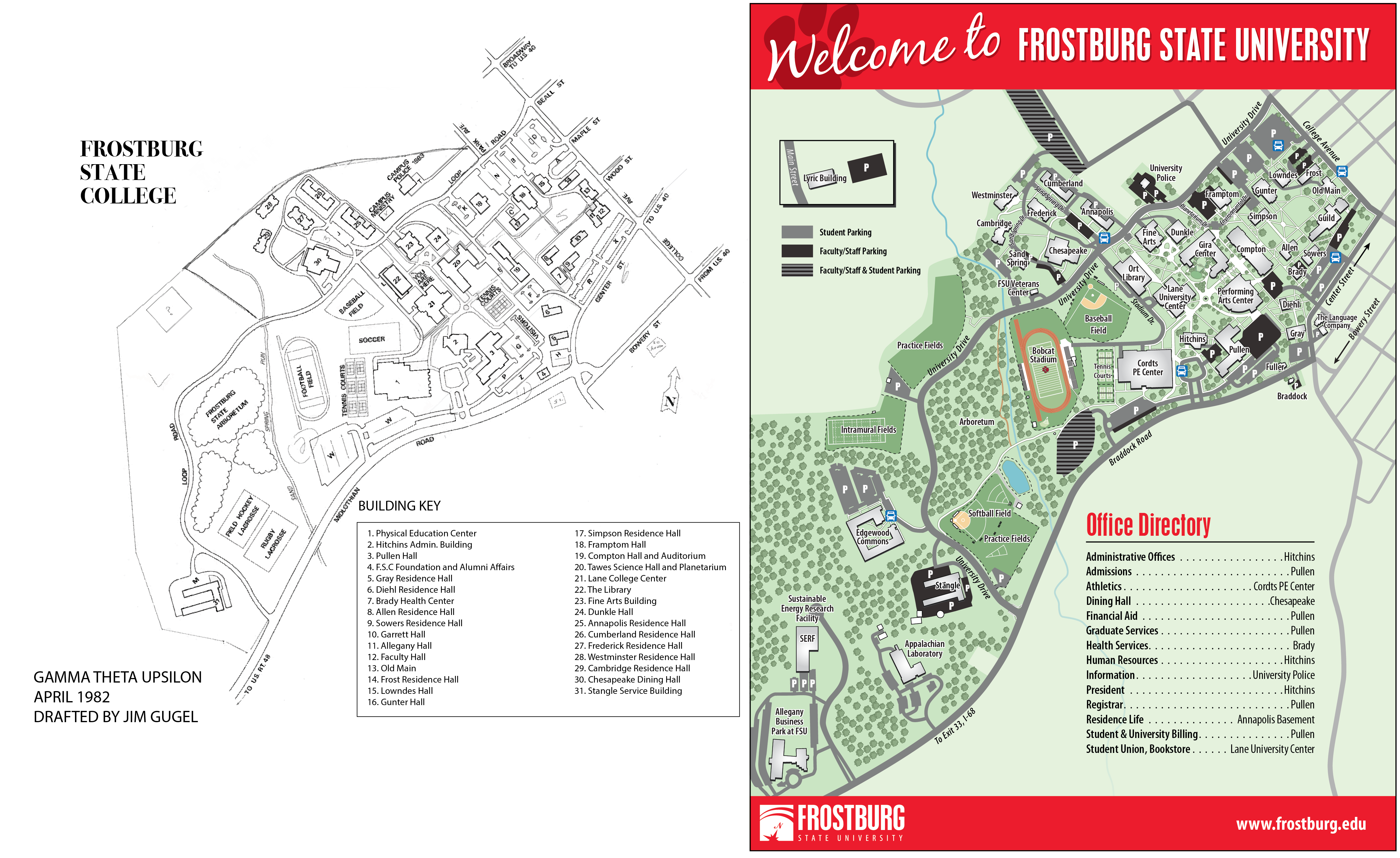 A campus map from 1983, left, was archived in the Lewis J. Ort Library and has been rotated to reflect a similar orientation to the modern campus map, seen at right. The arboretum, where Charlton was discovered, lies at the left of each map, with Sand Spring Run flowing vertically.