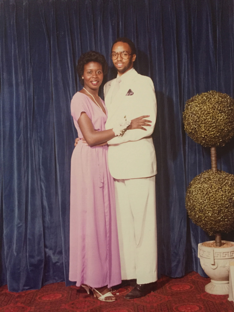 Joan Charlton attends her senior prom at Eastern High School with an unidentified date. Charlton's mother, Gwendolyn, made the dress she is pictured in. Photo courtesy of the Charlton family.
