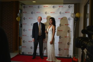 Interim President Tom Bowling poses on the red carpet with Dominique Elias, one of CCC's vice presidents.