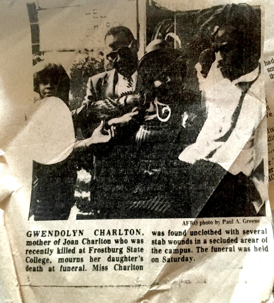 A newspaper clipping from the AFRO depicts members of the Charlton family at Joan's funeral. Photo courtesy the Charlton family.