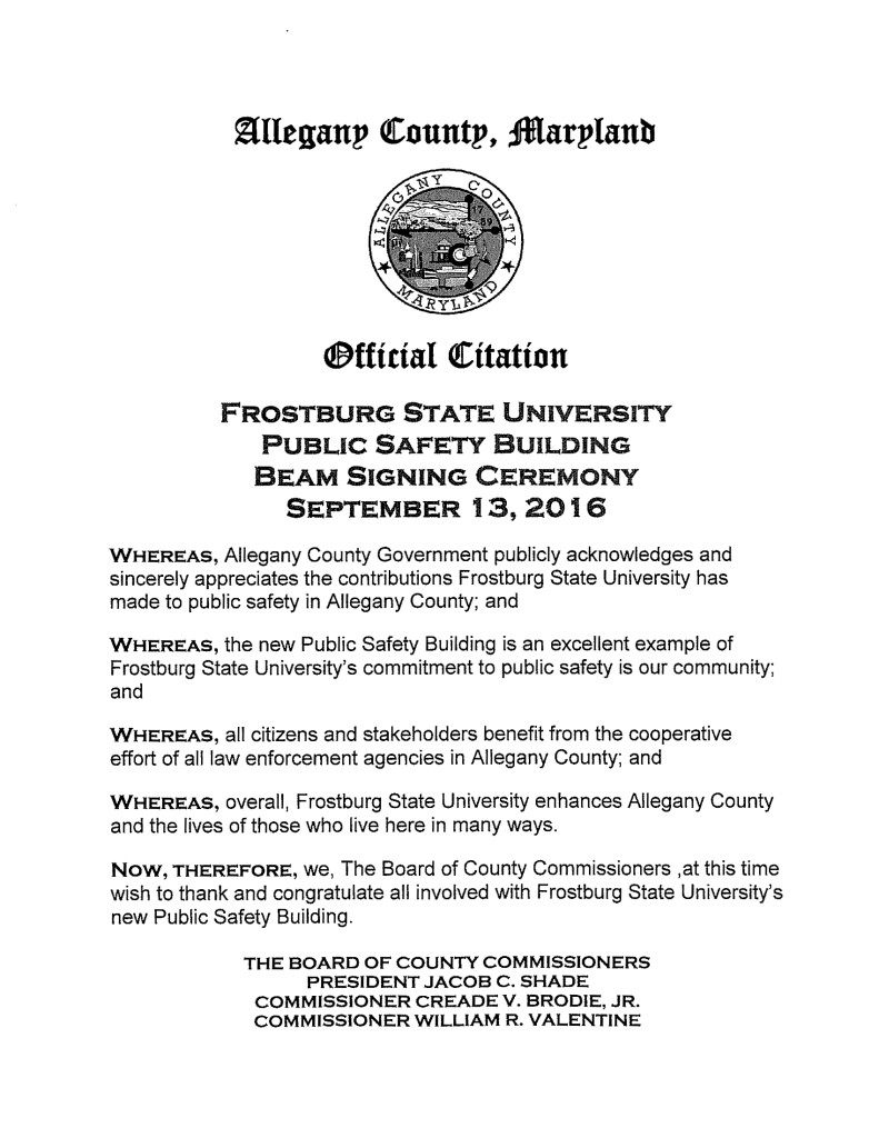 The official citation presented by County Commissioner Bill Valentine to the university.
