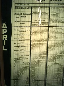 Photo of the New York Time's Headline of president Abraham Lincoln's assassination in the April 16, 1865 issue available in microfilm at the library. (Madie Wilson/ TBL)