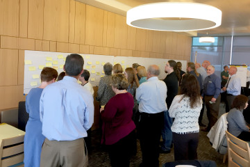 Members of the strategic planning task force engage in a timeline creation activity during the two-day workshop. (TBL/Nick DeMichele)