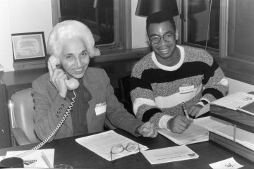 Dr. Alice R. Manicur, pictured with a former Frostburg State student (Frostburg State University).