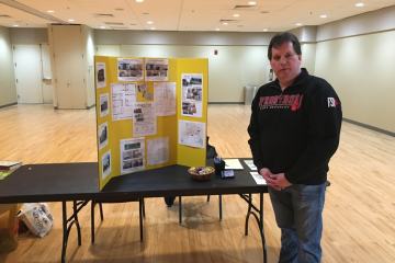 Frostburg's Mayor Robert Flanigan was at the housing fair representing his proprietary company Collegiate Flat Apartments. (TBL/ Kyle Bowling)