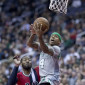 Boston Celtics' guard Isaiah Thomas (4) shots against Washington Wizards' guard John Wall (2).  The two rivals could face off in round two of the NBA playoffs. (Flickr/ Keith Allison).
