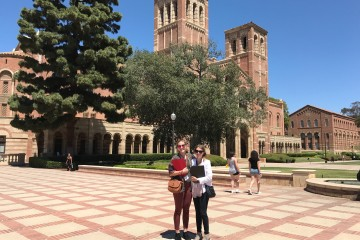 FSU journalism students Nicole Leighty and Savannah Neubert on the UCLA campus for the FIRE West Coast Conference. (TBL).