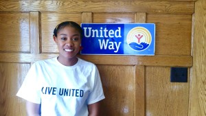 Frostburg Senior Michelle Banks in front of County United Way
