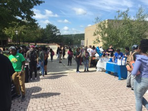 Organizations and clubs lined the walkway from Lane University Center to the clock tower.