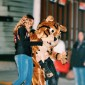 "The Frostburg State University (FSU) mascot, ""Bob E. Cat"", greeted eager children at the Halloween Parade."