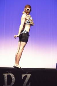 """Joe Nader, a Senior at FSU, strikes a pose for the swimsuit portion of """"Womanless"""". Photo by: Catherine Kim"""