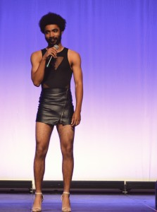 Mekhi Jones, a Sophomore at FSU lip syncs for the talent portion of Womanless. Photo by: Catherine Kim