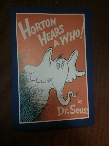 The hallway entering the theatre was lined with posters of Dr. Seuss' books.