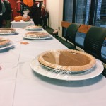 The pumpkin pie eating contest table.