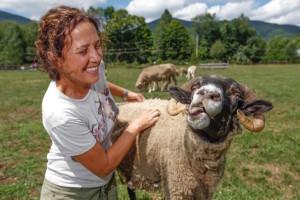 Brown working with rescued farm animals. Photo from: themighty.com
