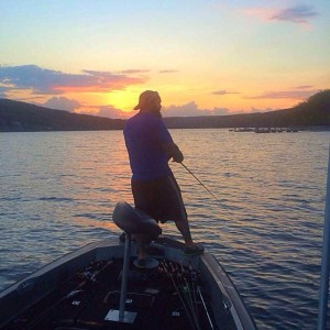 Wood enjoying one of his past times – fishing. Photo from: Adam Wood.